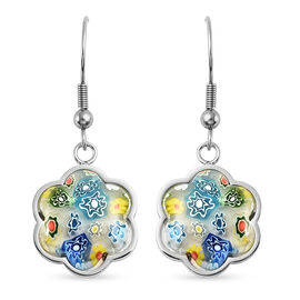 Multi Color Murano Glass  Earring Pure White Stainless Steel  0.00 ct  0.001  Ct.