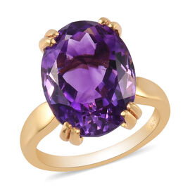 Moroccan Amethyst Solitaire Ring in 14K Gold Overlay Sterling Silver