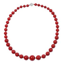 Red Shell Pearl Beaded Necklace With Magnetic Lock Size 20 Inch