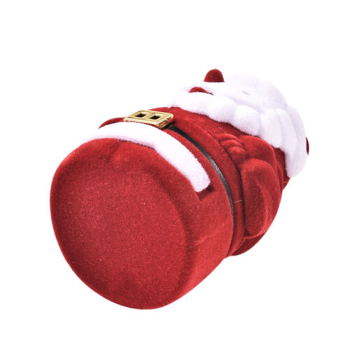 Set of 2 - Santa Claus Velvet Ring Box in White and Red Colour (Size 6x4cm)