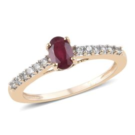 9K Yellow Gold AA African Ruby (Ovl 6x4mm), Natural Cambodian Zircon Ring 2.90 Ct.