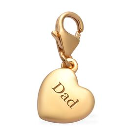 14K Gold Overlay Sterling Silver Dad Heart Charm
