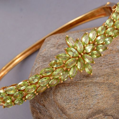 Designer Inspired-Hebei Peridot (Mrq) Bangle (Size 7.5) in 14K Gold Overlay Sterling Silver 11.000 Ct. Silver wt 19.80 Gms.
