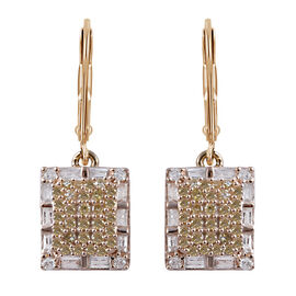 9K Yellow Gold Yellow and White Diamond (Bgt and Rnd) Earrings  1.000  Ct.