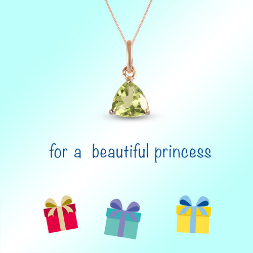 9K Y Gold Hebei Peridot Solitaire Pendant 0.50 Ct.