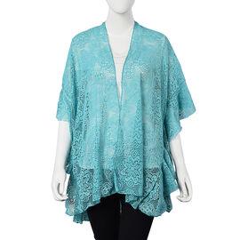 Turquoise Colour Floral Lace Kimono (Size 70x75 Cm)