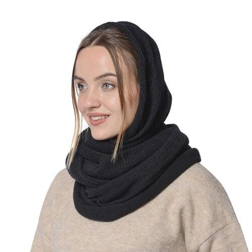Designer Inspired-Black Colour Infinity Scarf (Size 77x70 Cm)