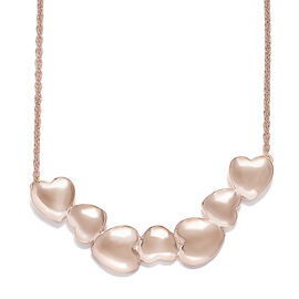 Rose Gold Overlay Sterling Silver Heart Necklace with Chain (Size 18), Silver wt 8.70 Gms.