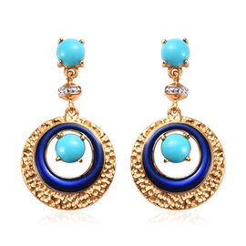 1.75 Ct Arizona Sleeping Beauty Turquoise Enamelled Drop Earrings in Gold Plated Sterling Silver