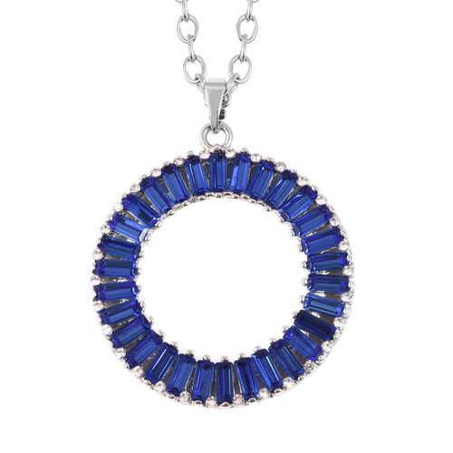Simulated Tanzanite and Crystal Circle Pendant With Chain in Silver Plated 21 with 2 inch Extender