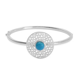 RACHEL GALLEY Arizona Sleeping Beauty Turquoise (Rnd) Lattice Charm Bangle (Size 7.25) in Rhodium Ov
