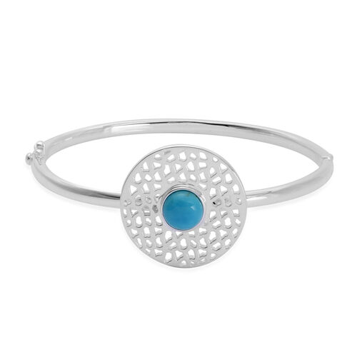 RACHEL GALLEY 1.71 Ct Turquoise Lattice Charm Bangle in Rhodium Plated Silver 21.73 Gms