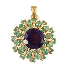 Amethyst (Rnd 4.25 Ct), Kagem Zambian Emerald Floral Pendant in 14K Gold Overlay Sterling Silver 6.000 Ct, Silver wt 5.49 Gms.