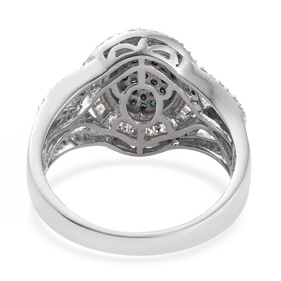Blue Diamond Platinum: Blue Diamond (Rnd), White Diamond Ring In Platinum Overlay