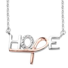 White Diamond HOPE Necklace (Size 18) in Rose Gold and Platinum Overlay Sterling Silver