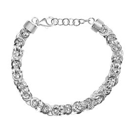 Hand Made Sterling Silver Adjustable Byzantine Bracelet (Size 7.5 with 1 inch Extender), Silver wt 2