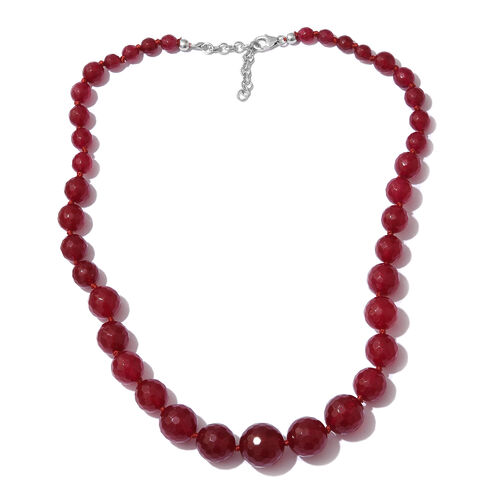 Ruby Quartzite Ball Beads Graduated Necklace (Size 18) in Platinum Overlay Sterling Silver 217.500 Ct.