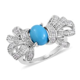 Arizona Sleeping Beauty Turquoise (Ovl), Natural White Cambodian Zircon Bowknot Ring in Rhodium Plated Sterling Silver 1.300 Ct.