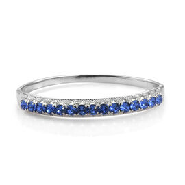 J Francis - Crystal from Swarovski  Sapphire Colour Crystal (Rnd) Bangle (Size 7.5) in Stainless Steel