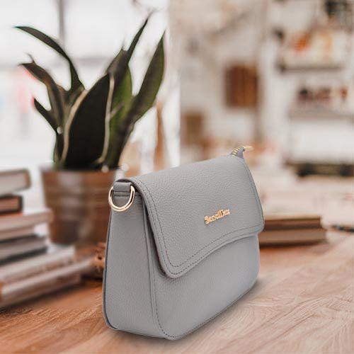 SENCILLEZ 100% Genuine Leather Crossbody Bag with Detachable Strap (Size 20x16x6cm) - Grey
