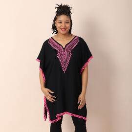 TAMSY 100% Viscose Kaftan with Emboridery (Size 75x85 Cm) - Black Shell with Light Blue Emboridery
