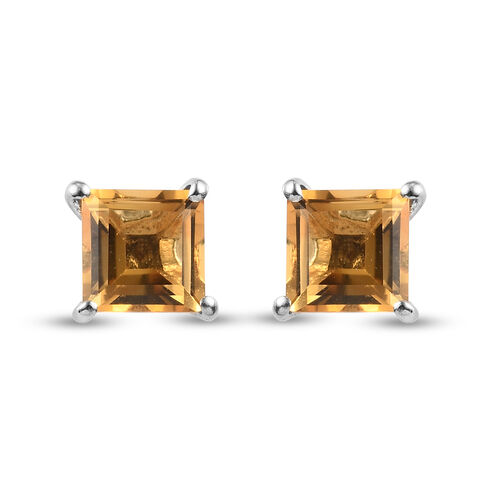 Citrine Solitaire Stud Push Post Earring in Platinum Overlay Sterling Silver 1.45 ct  1.445  Ct.