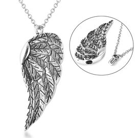 2 Piece Set - Angel Wing Memorial Pendant with Chain (Size 20) and Funnel with Needle in Stainless S