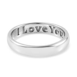 Platinum Overlay Sterling Silver I Love You Engraved Band Ring