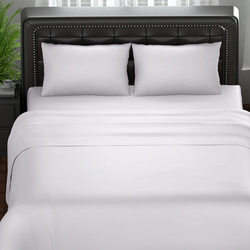 OTO - Serenity Night 4 Piece Set - 100% Bamboo Sheet Set Inclds. 1 Flat Sheet (230x265cm), 1 Fitted Sheet (140x190+30cm) & 2 Pillowcases (50x75cm) in White - DOUBLE