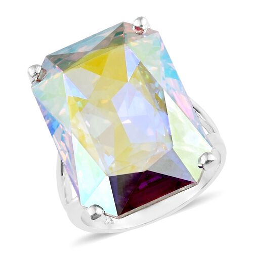 J Francis Crystal from Swarovski - Rare Size AB Crystal (Oct) Ring in Platinum Overlay Sterling Silver, Silver wt 5.94 Gms.