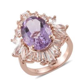 Rose De France Amethyst (Ovl 5.30 Ct), White Topaz Ring in Rose Gold Overlay Sterling Silver 8.250 C