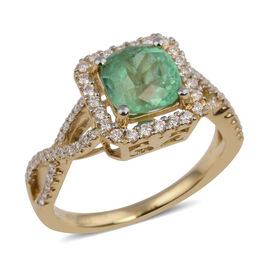 ILIANA 18K Yellow Gold Boyaca Colombian Emerald and Diamond  Ring 1.390 Ct.