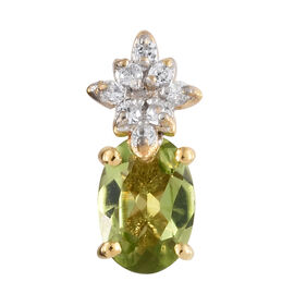 Hebei Peridot (Ovl), Natural Cambodian Zircon Pendant in 14K Gold Overlay Sterling Silver 1.000 Ct.