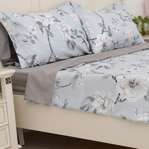 4 Pcs Grey Colour Fitted Sheet (Size 150x200 Cm), Duvet Cover (Size 225x220 Cm) and Pillow Case (Size 50x75 Cm) Grey, Sky Blue and Multi Colour