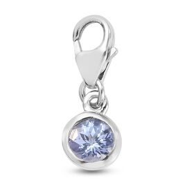 0.50 Carat Tanzanite Charm Pendant in Platinum Plated Sterling Silver