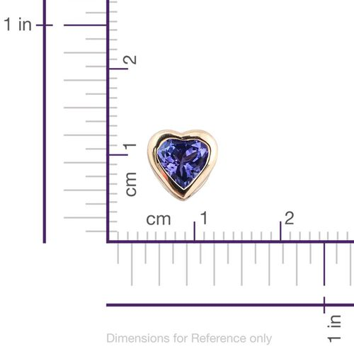 14K Yellow Gold 0.75 Carat AA Tanzanite Solitaire Heart Pendant