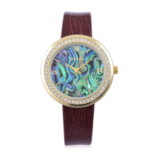 STRADA Japanese Movement Abalone Shell Dial with White Austrian Crystal Watch in Yellow Gold Tone with Chocolate Colour Strap