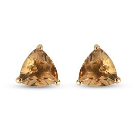 Citrine Solitaire Stud Push Post Earring in 14K Gold Overlay Sterling Silver 1.15 ct  1.150  Ct.