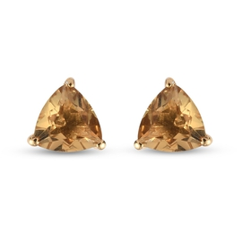 Citrine Stud Earrings (with Push Back) in 14K Gold Overlay Sterling Silver 1.390 Ct,