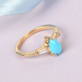 Arizona Sleeping Beauty Turquoise and Natural Cambodian Zircon Ring in 14K Gold Overlay Sterling Sil