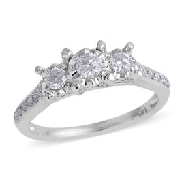 Limited Available- New York Close Out- 14K White Gold Diamond (Rnd) (I2-I3/G-H) Ring 0.500 Ct.