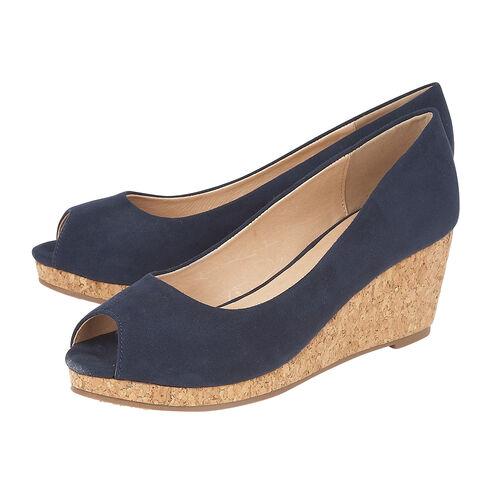 Lotus Microfibre Odina Peep-Toe Wedge Shoes (Size 3) - Navy