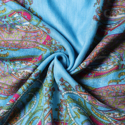 100% Wool Floral and Polka Dot Print Scraf (66x175+9cm) - Blue