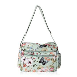 Water Resistant Green Butterfly, Flower and Leaves Pattern Crossbody Bag with External Zipper Pockets (Size 28x23x9.5 Cm)