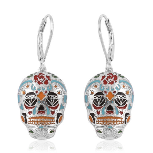 Halloween Collection- Rhodium Overlay with Enameled Sterling Silver Skull Earrings (With Lever Back), Silver wt: 5.65 Gms.