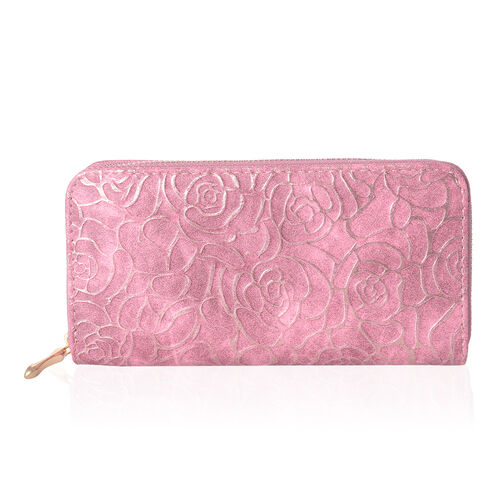 Designer Inspired-Pink Colour Golden Roses Embossed Rode Wallet With RFID Blocking (Size 19x10x2.5 Cm)