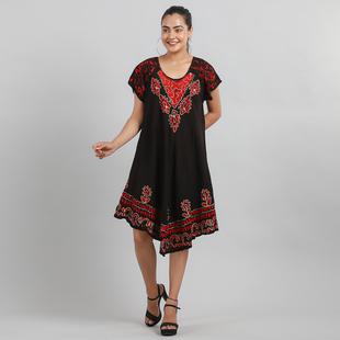 Viscose Crepe Umbrella Dress Embellished with Batik and Embroidery (Size 120x105 Cm) - Black & Coral
