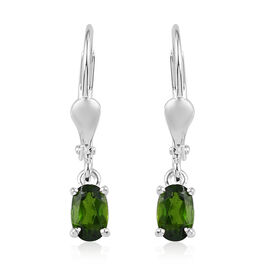 Russian Diopside Solitaire Lever Back Earrings in Sterling Silver 1.00 Ct.