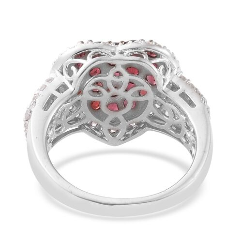 Arizona Anthill Garnet (Rnd), Natural Cambodian Zircon Heart Ring in Platinum Overlay Sterling Silver 2.500 Ct.