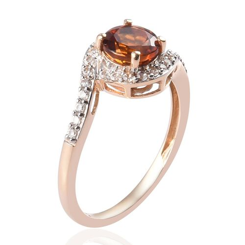 9K Yellow Gold Madeira Citrine and Natural Cambodian Zircon Ring 1.25 Ct.